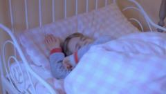 Little girl bed nightmare SL bad dream relax Stock Footage