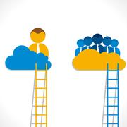 leadership concept or leader and his team in cloud background vector - stock illustration