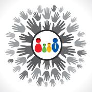 Family support hand Stock Illustration