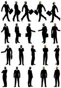 Business silhouette set - stock illustration