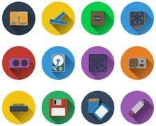 Set of computer hardware icons in flat design - stock illustration