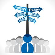 Stock Illustration of business planning word direction board and business team