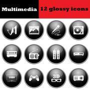 Set of multimedia glossy icons - stock illustration