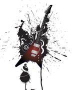 Grunge music style - stock illustration
