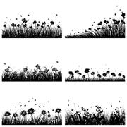 6 Meadow Backgrounds - stock illustration