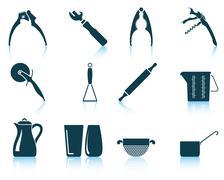 Set of utensil icons - stock illustration