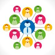 People network or people relation with leader, business network concept Stock Illustration