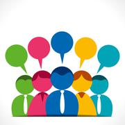 people discussion or communication with message bubble - stock illustration