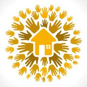 home icon with hand background vector - stock illustration