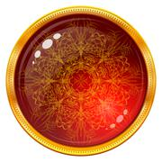 Golden button with patterned red gem - stock illustration