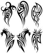 Set of tribal tattoos Stock Illustration