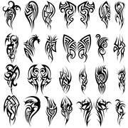 24 Tribal Tattoos Stock Illustration