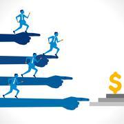 businessmen run for money concept background vector - stock illustration