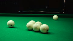 Flying white ball on a billiard table Stock Footage
