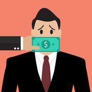 Businessman with dollar banknote taped to mouth Stock Illustration