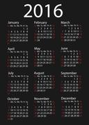 Stock Illustration of Simple 2016 Calendar / 2016 calendar design / 2016 calendar vertical - week s