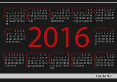 Vector circle calendar 2016. Week starts from Sunday. - stock illustration