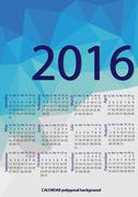 Simple 2016 Calendar / 2016 calendar design / 2016 calendar vertical - week s Stock Illustration