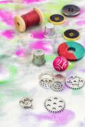 Tools and supplies for needlework - stock photo