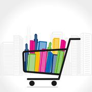 shopping cart full  of colorful building vector - stock illustration