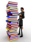 3d man help another man to take out book from tall ple of books concept Stock Illustration