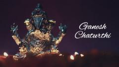 Ganesh chaturthi message with idol Stock Footage