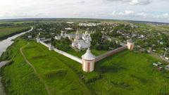 Flying over Spaso-Prilutsky monastery in Vologda Stock Footage