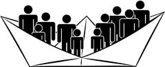 Adult and children silhouetes in paper ship,vector - stock illustration