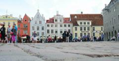 Town Hall square in Estonia Stock Footage