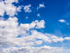 Real natural cloudy blue sky - stock photo
