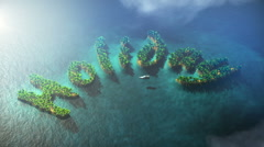 Tropical small islands form word Holiday Stock Footage