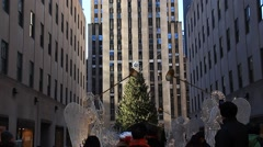 Stock Video Footage of Pan up Rockefeller Center Day Christmastime