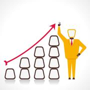 Men with growth graph vector Stock Illustration
