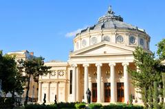 Majestic architecture of the Romanian Athenaeum in Bucharest - stock photo