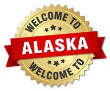 Alaska 3d gold badge with red ribbon - stock illustration