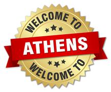 Athens 3d gold badge with red ribbon - stock illustration