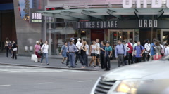 Truck rental and leasing vehicle driving busy intersection Times Square 4k NYC Stock Footage