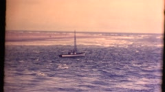 Small boat on the mouth of the Columbia river Stock Footage