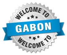 Gabon 3d silver badge with blue ribbon - stock illustration