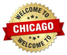 Chicago 3d gold badge with red ribbon - stock illustration