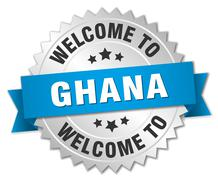 Stock Illustration of Ghana 3d silver badge with blue ribbon