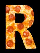 Letter R cut out of pizza with peperoni Stock Photos