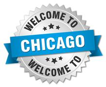 Chicago 3d silver badge with blue ribbon - stock illustration