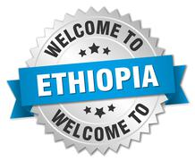 Ethiopia 3d silver badge with blue ribbon - stock illustration
