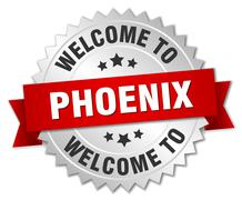 Phoenix 3d silver badge with red ribbon - stock illustration