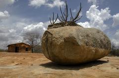 Rocks of Lajedo de Pai Mateus region Stock Photos