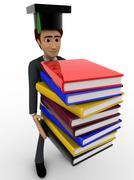 3d man scholar graduate with many books concept - stock illustration