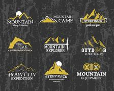 Set of Summer winter mountain explorer camp badge, logo and label templates Stock Illustration