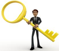 3d man with big and old golden key concept - stock illustration