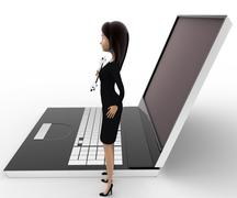 3d woman with wrench to repair laptop computer concept - stock illustration